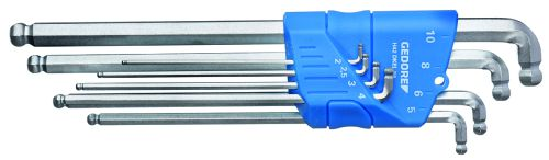 gedore haakse stiftsleutelset xl dubbele kogelkop in houder 210 mm 8dlgh 42 dkel88