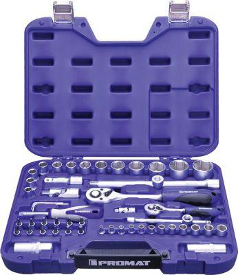 PROMAT Dopsleutelset 55-delig 1/4 + 1/2 inch sleutelwijdtes 4-32 mm aantal tanden 72/72 6-Kant 4000821235