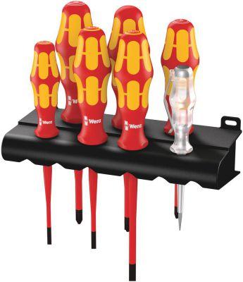 Wera 160 iS/7 Schroevendraaierset Kraftform Plus Serie 100 + Spanningszoeker + houder. Met gereducee 05006480001